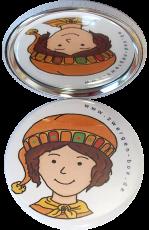 Taschenspiegel-Button Zwerg | Fröhlich