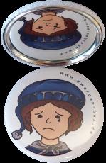 Taschenspiegel-Button Zwerg | Traurig