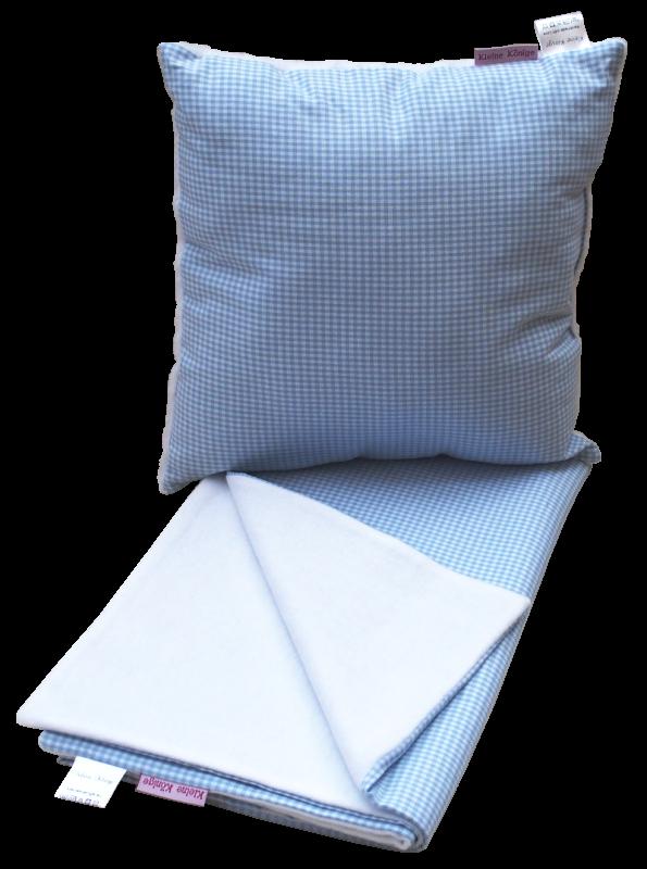 Set Kissen und Babydecke Karo blau - Manufaktur Kleine Könige