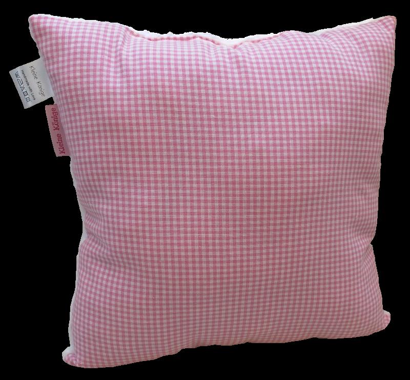 Kissen Karo rosa mit Kuschelfleece - Manufaktur Kleine Könige