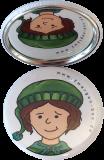Taschenspiegel-Button Zwerg | Schüchtern