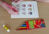 Gruppensatz (Kita, Hort): 25 x Bastelvorlage Gefühlsuhr Zwerge - Deutsch, Englisch oder Arabisch - Bastelset, Bastelbogen farbig